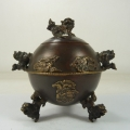 old handwork china copper armored dragon phoenix lion