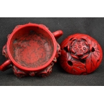 Collectible Decoration Old Coral Carving Blooming Lotus Exorcism Incense Burner